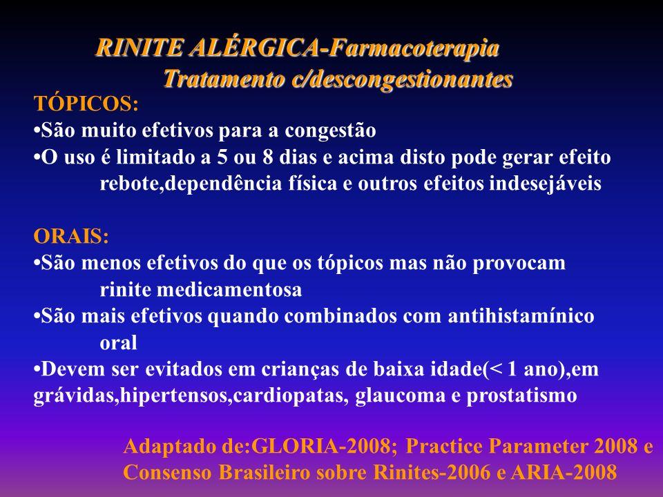 RINITE ALÉRGICA-Farmacoterapia Tratamento c/descongestionantes TÓPICOS: São muito efetivos para a congestão O uso é limitado a 5 ou 8 dias e acima dis