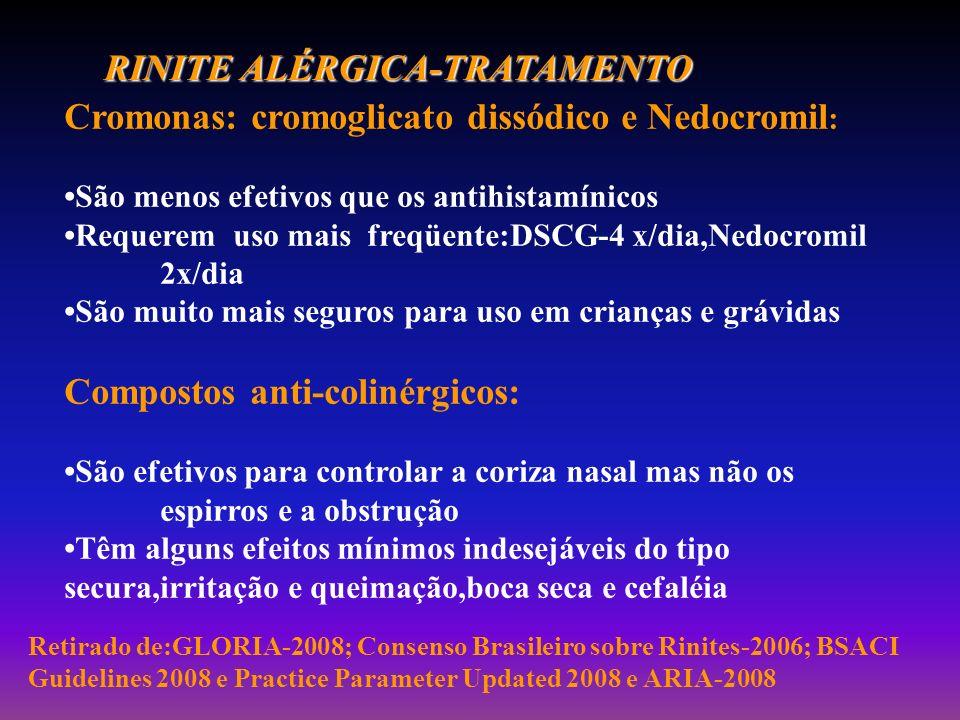 RINITE ALÉRGICA-TRATAMENTO Cromonas: cromoglicato dissódico e Nedocromil : São menos efetivos que os antihistamínicos Requerem uso mais freqüente:DSCG