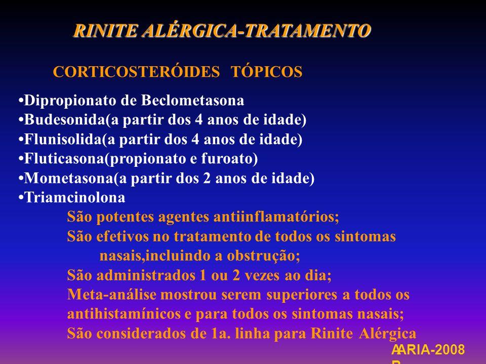 RINITE ALÉRGICA-TRATAMENTO CORTICOSTERÓIDES TÓPICOS Dipropionato de Beclometasona Budesonida(a partir dos 4 anos de idade) Flunisolida(a partir dos 4