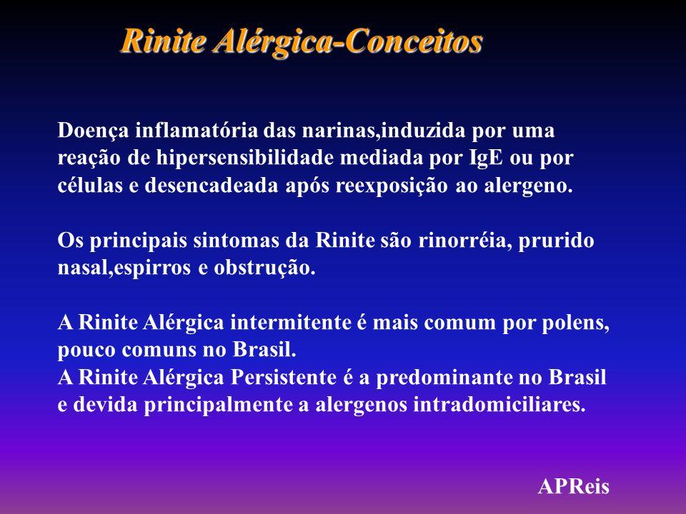 Rinite Alérgica-Conceitos Doença inflamatória das narinas,induzida por uma reação de hipersensibilidade mediada por IgE ou por células e desencadeada