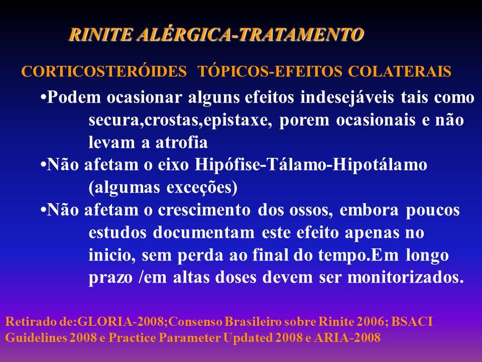 RINITE ALÉRGICA-TRATAMENTO CORTICOSTERÓIDES TÓPICOS-EFEITOS COLATERAIS Podem ocasionar alguns efeitos indesejáveis tais como secura,crostas,epistaxe,