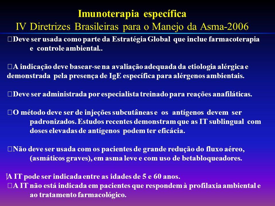 Imunoterapia específica IV Diretrizes Brasileiras para o Manejo da Asma-2006 Deve ser usada como parte da Estratégia Global que inclue farmacoterapia