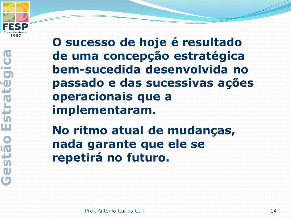 O sucesso de hoje é resultado de uma concepção estratégica bem-sucedida desenvolvida no passado e das sucessivas ações operacionais que a implementara