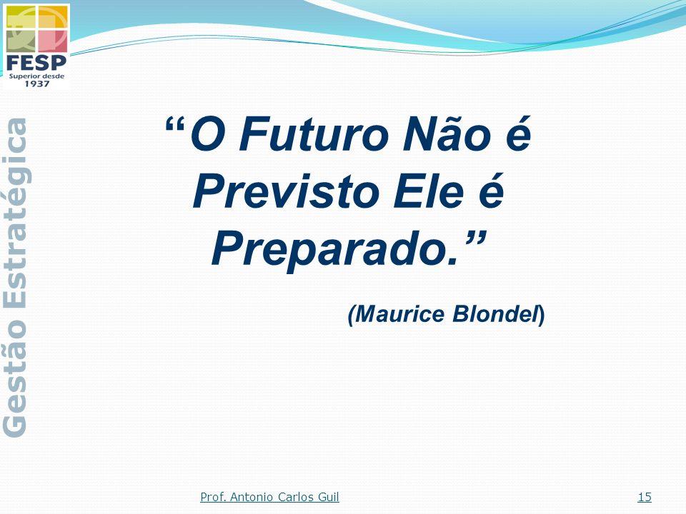 O Futuro Não é Previsto Ele é Preparado. (Maurice Blondel) Gestão Estratégica 15Prof. Antonio Carlos Guil