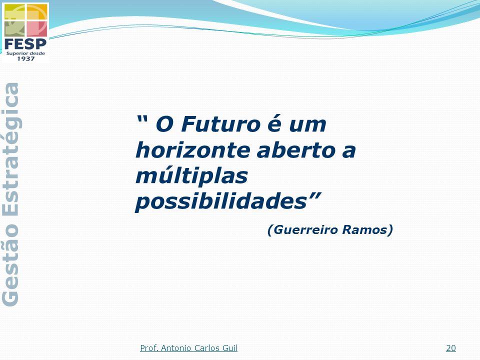 O Futuro é um horizonte aberto a múltiplas possibilidades (Guerreiro Ramos) Gestão Estratégica 20Prof. Antonio Carlos Guil