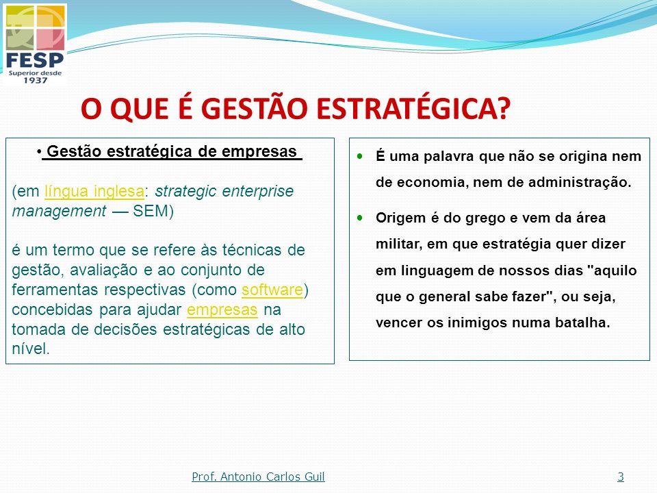 O Uso de Indicadores Balanceados de desempenho Gestão Estratégica 34Prof. Antonio Carlos Guil