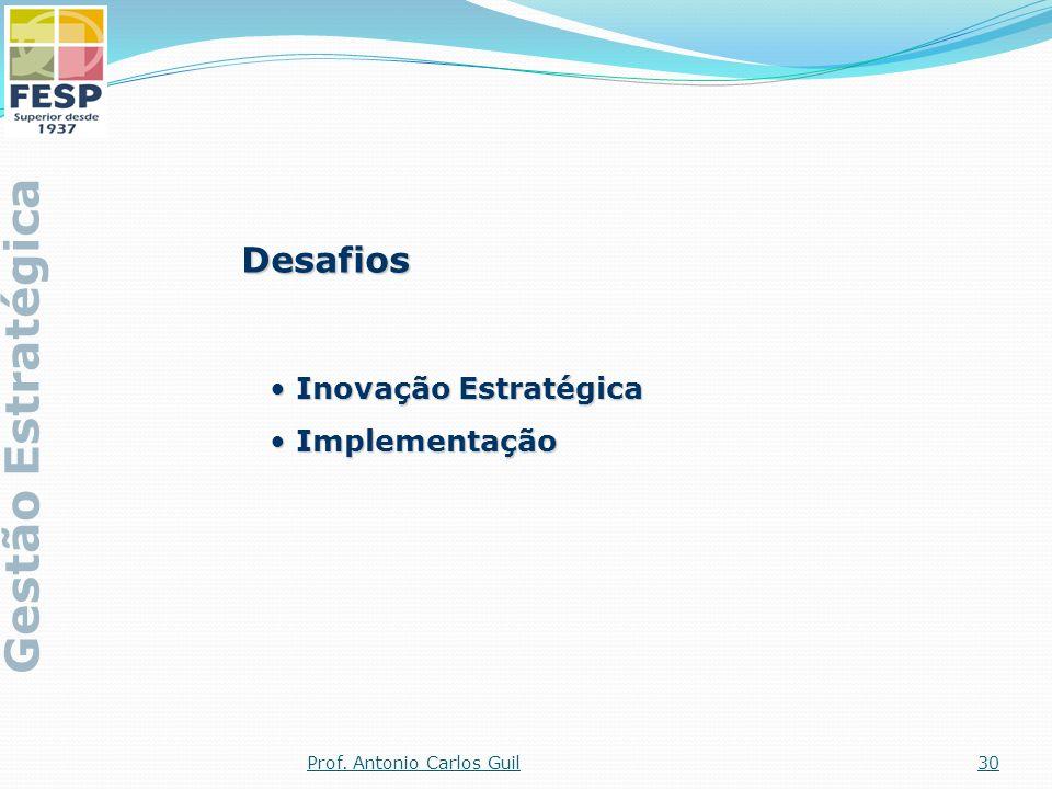 Desafios Inovação Estratégica Inovação Estratégica Implementação Implementação Gestão Estratégica 30Prof. Antonio Carlos Guil