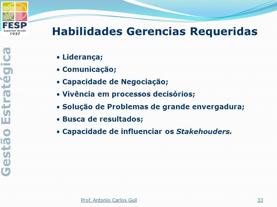 Habilidades Gerencias Requeridas Liderança; Comunicação; Capacidade de Negociação; Vivência em processos decisórios; Solução de Problemas de grande en