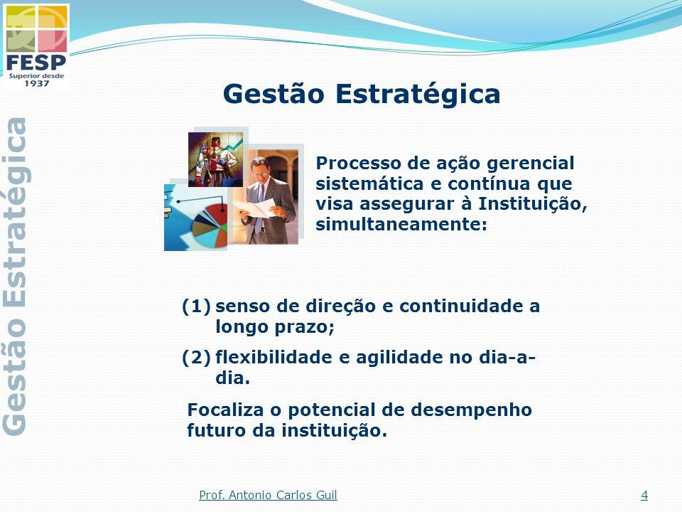 (1)senso de direção e continuidade a longo prazo; (2)flexibilidade e agilidade no dia-a- dia. Gestão Estratégica Processo de ação gerencial sistemátic