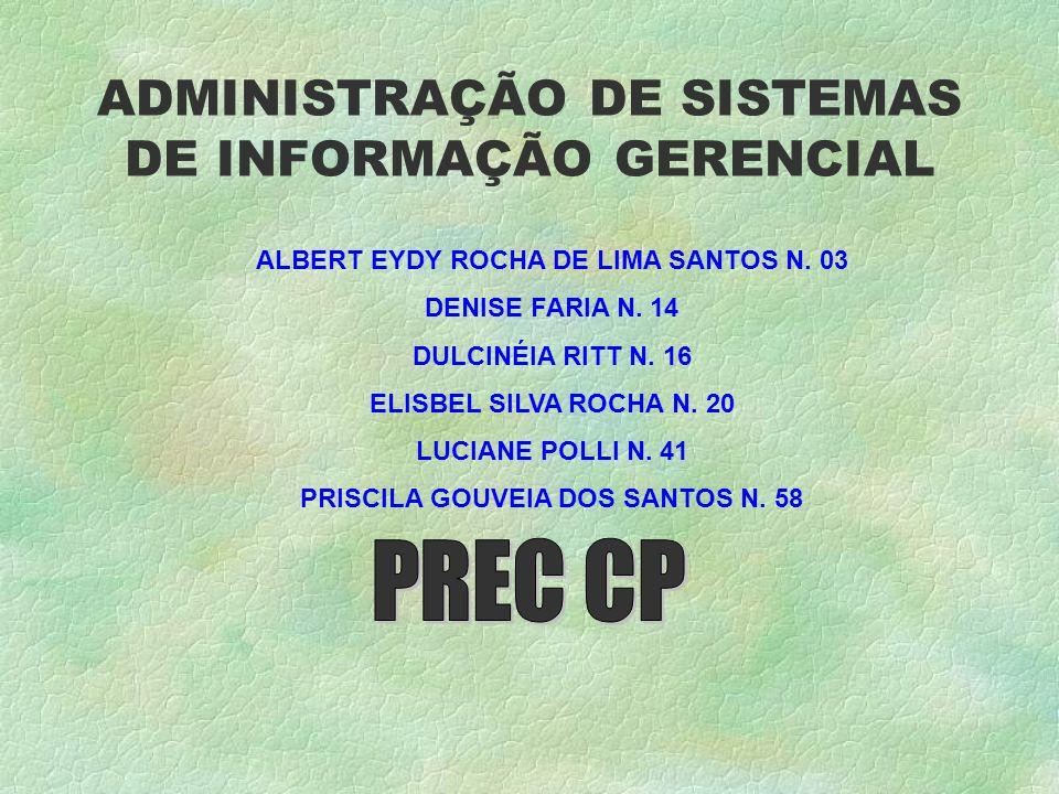 ADMINISTRAÇÃO DE SISTEMAS DE INFORMAÇÃO GERENCIAL ALBERT EYDY ROCHA DE LIMA SANTOS N.