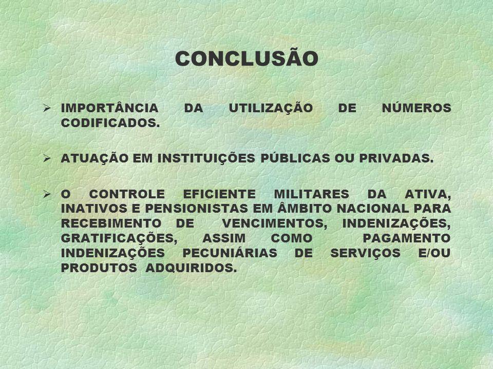 CONCLUSÃO IMPORTÂNCIA DA UTILIZAÇÃO DE NÚMEROS CODIFICADOS.
