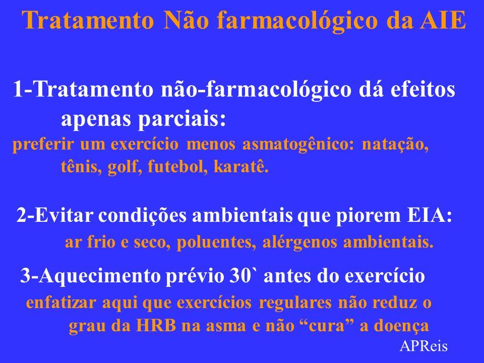Tratamento Não farmacológico da AIE 1-Tratamento não-farmacológico dá efeitos apenas parciais: preferir um exercício menos asmatogênico: natação, têni