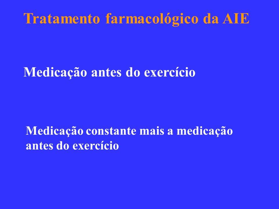 Tratamento farmacológico da AIE Medicação antes do exercício Medicação constante mais a medicação antes do exercício