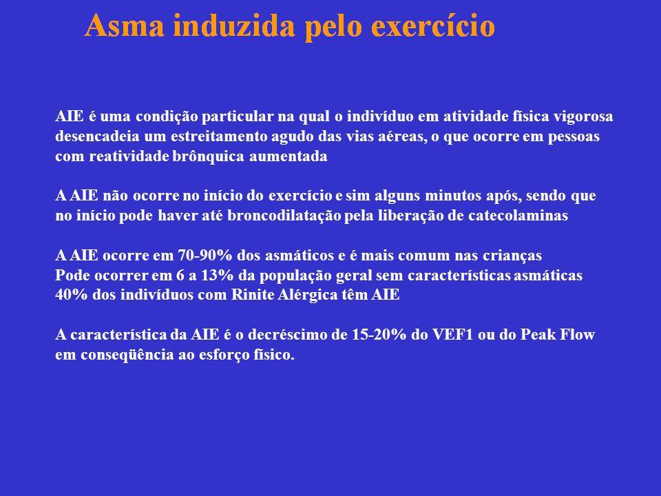 Tratamento Não farmacológico da AIE 1-Tratamento não-farmacológico dá efeitos apenas parciais: preferir um exercício menos asmatogênico: natação, tênis, golf, futebol, karatê.