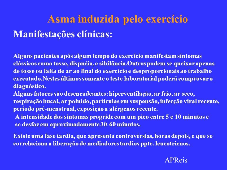 Asma induzida pelo exercício Manifestações clínicas: Alguns pacientes após algum tempo do exercício manifestam sintomas clássicos como tosse, dispnéia