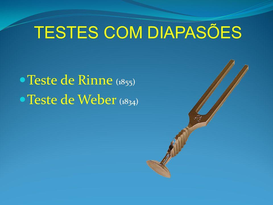 Teste de Rinne (1855) Teste de Weber (1834) TESTES COM DIAPASÕES