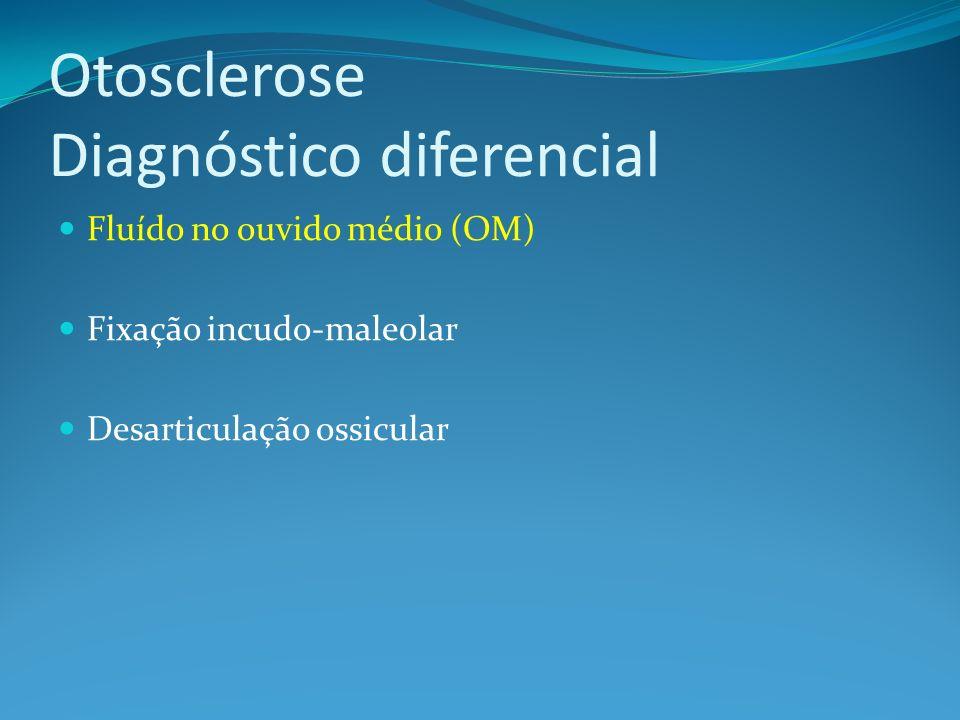 Otosclerose Diagnóstico diferencial Fluído no ouvido médio (OM) Fixação incudo-maleolar Desarticulação ossicular