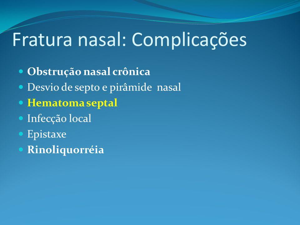 Fratura nasal: Complicações Obstrução nasal crônica Desvio de septo e pirâmide nasal Hematoma septal Infecção local Epistaxe Rinoliquorréia