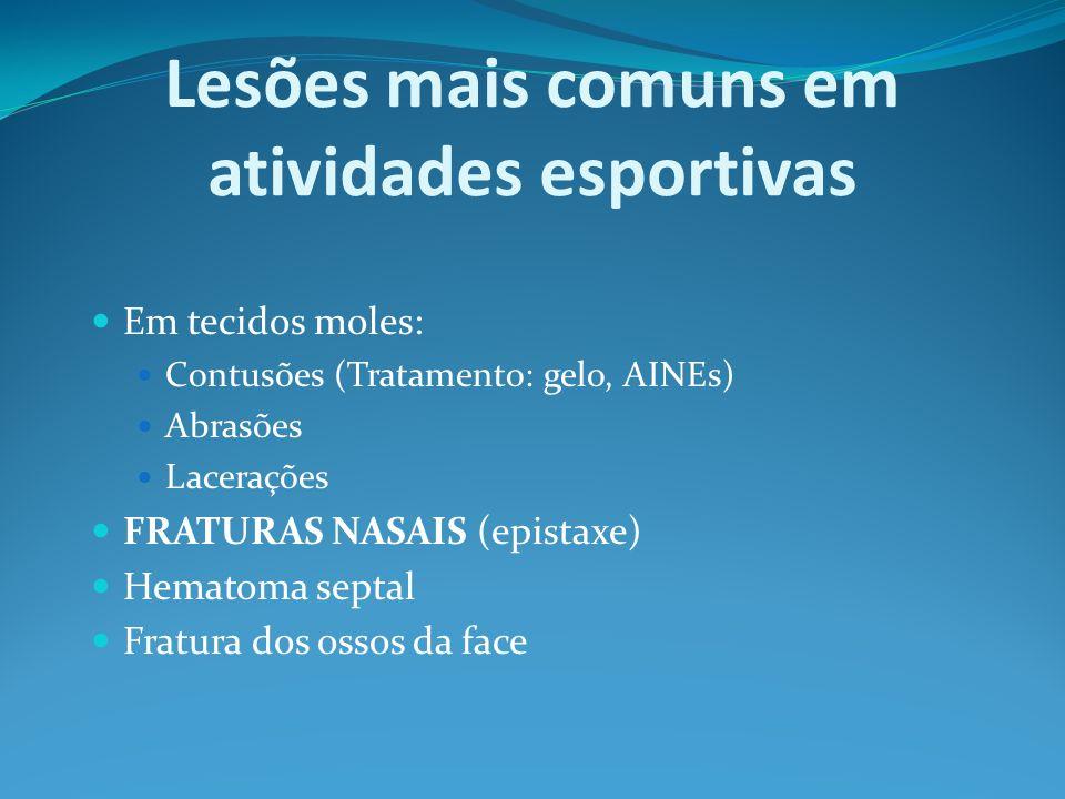 Lesões mais comuns em atividades esportivas Em tecidos moles: Contusões (Tratamento: gelo, AINEs) Abrasões Lacerações FRATURAS NASAIS (epistaxe) Hemat