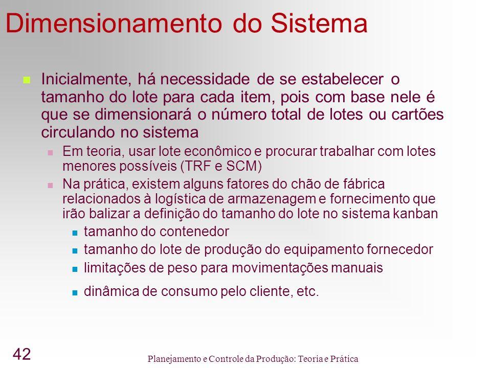 42 Planejamento e Controle da Produção: Teoria e Prática Dimensionamento do Sistema Inicialmente, há necessidade de se estabelecer o tamanho do lote p