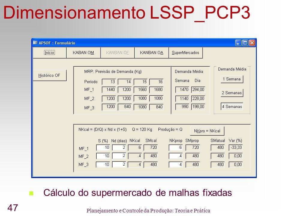47 Planejamento e Controle da Produção: Teoria e Prática Dimensionamento LSSP_PCP3 Cálculo do supermercado de malhas fixadas