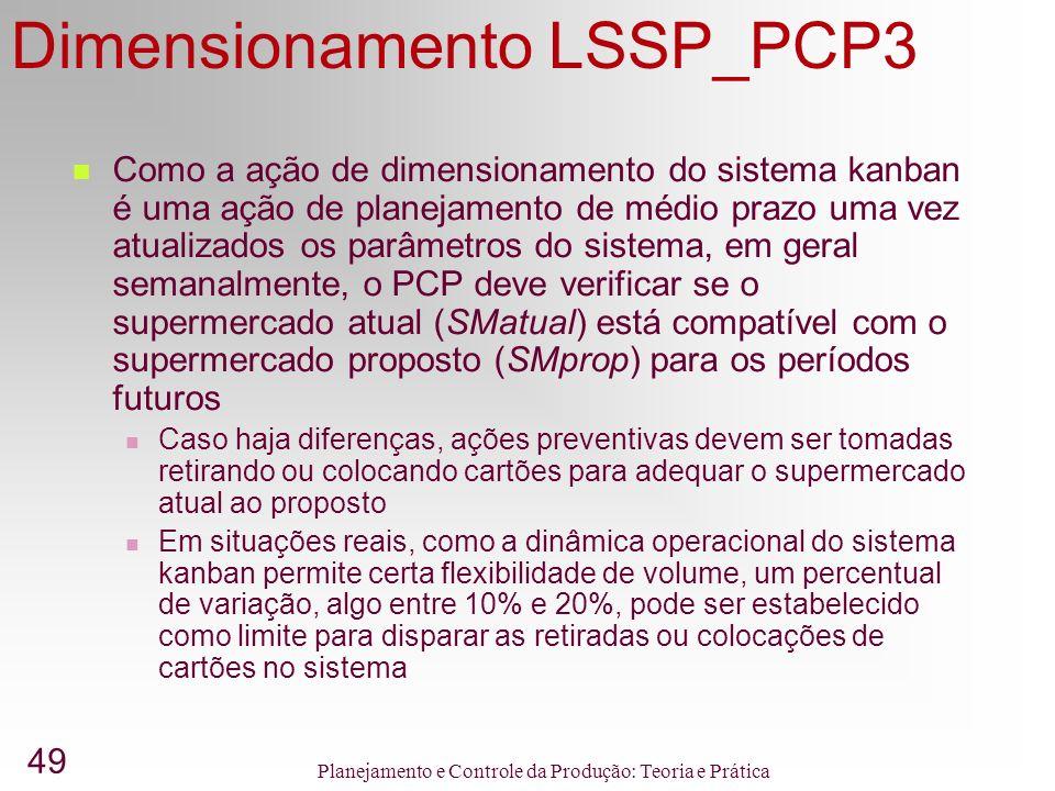 49 Planejamento e Controle da Produção: Teoria e Prática Dimensionamento LSSP_PCP3 Como a ação de dimensionamento do sistema kanban é uma ação de planejamento de médio prazo uma vez atualizados os parâmetros do sistema, em geral semanalmente, o PCP deve verificar se o supermercado atual (SMatual) está compatível com o supermercado proposto (SMprop) para os períodos futuros Caso haja diferenças, ações preventivas devem ser tomadas retirando ou colocando cartões para adequar o supermercado atual ao proposto Em situações reais, como a dinâmica operacional do sistema kanban permite certa flexibilidade de volume, um percentual de variação, algo entre 10% e 20%, pode ser estabelecido como limite para disparar as retiradas ou colocações de cartões no sistema