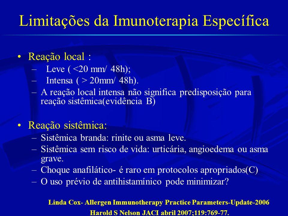 Imunoterapia-benefícios IT confere benefício a longo prazo, pelo menos 3 anos após descontinuação. Durham SR et al NEJM 1999;341:468-75 Niggemann B et