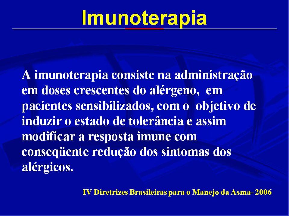 Imunoterapia Local Imunoterapia Nasal : Em estudos duplo cego foram demonstrados algum resultado em Rinite Alérgica, mas atualmente caíram em descrédito.