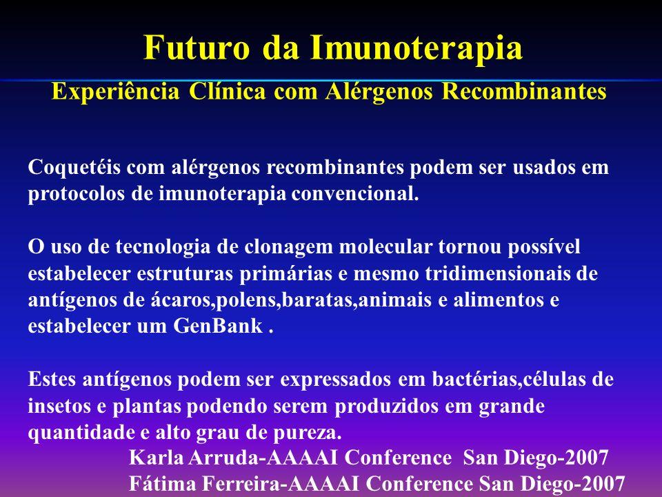 Os atuais extratos alergênicos modificados apenas demonstraram menores efeitos colaterais. Harold S.Nelson –JACI 2007;119:769-77. O fracionamento de a