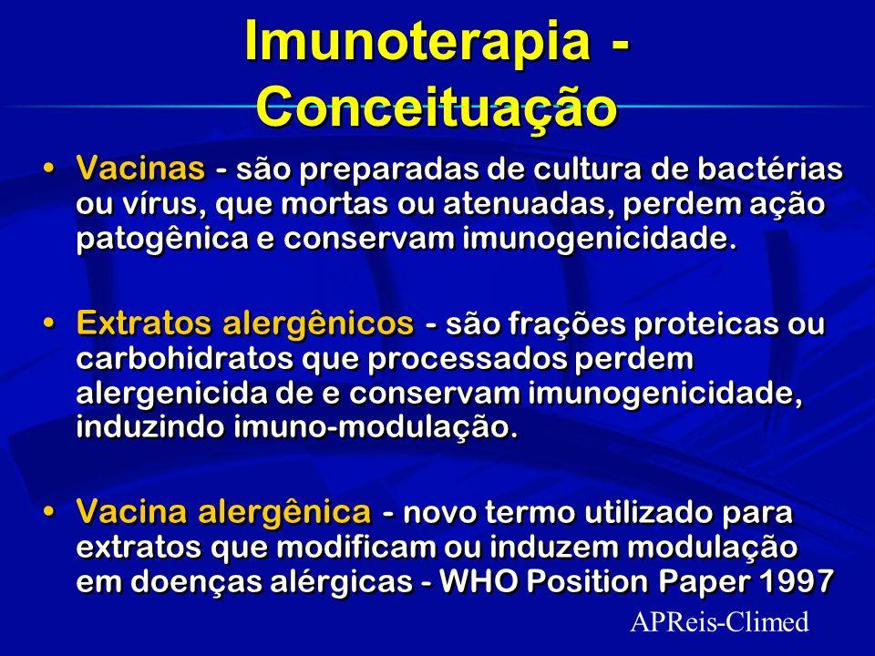 A imunoterapia consiste na administração em doses crescentes do alérgeno com o objetivo de modificar a resposta imune ou imunomodulação e conseqüente