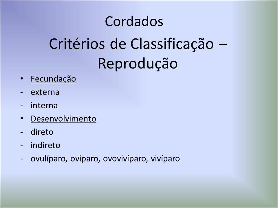 Cordados Critérios de Classificação – Reprodução Fecundação -externa -interna Desenvolvimento -direto -indireto -ovulíparo, ovíparo, ovovivíparo, viví