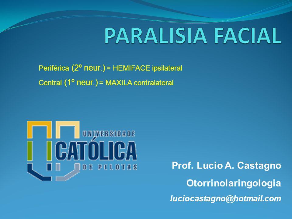 Prof. Lucio A. Castagno Otorrinolaringologia luciocastagno@hotmail.com Periférica (2º neur.) = HEMIFACE ipsilateral Central (1º neur.) = MAXILA contra