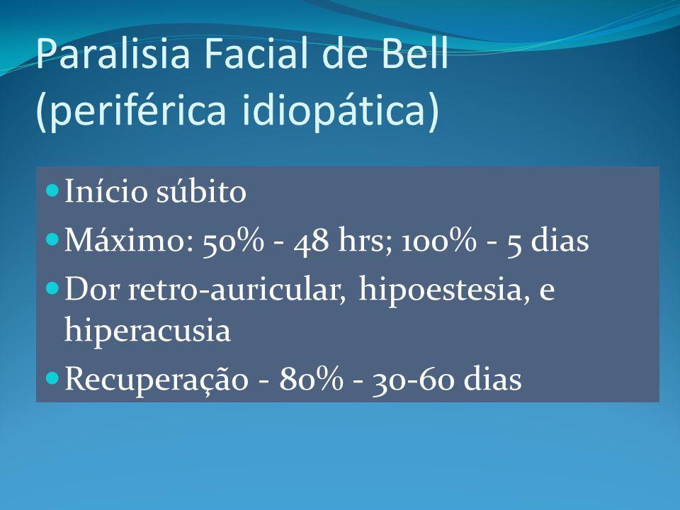 Início súbito Máximo: 50% - 48 hrs; 100% - 5 dias Dor retro-auricular, hipoestesia, e hiperacusia Recuperação - 80% - 30-60 dias Paralisia Facial de Bell (periférica idiopática)
