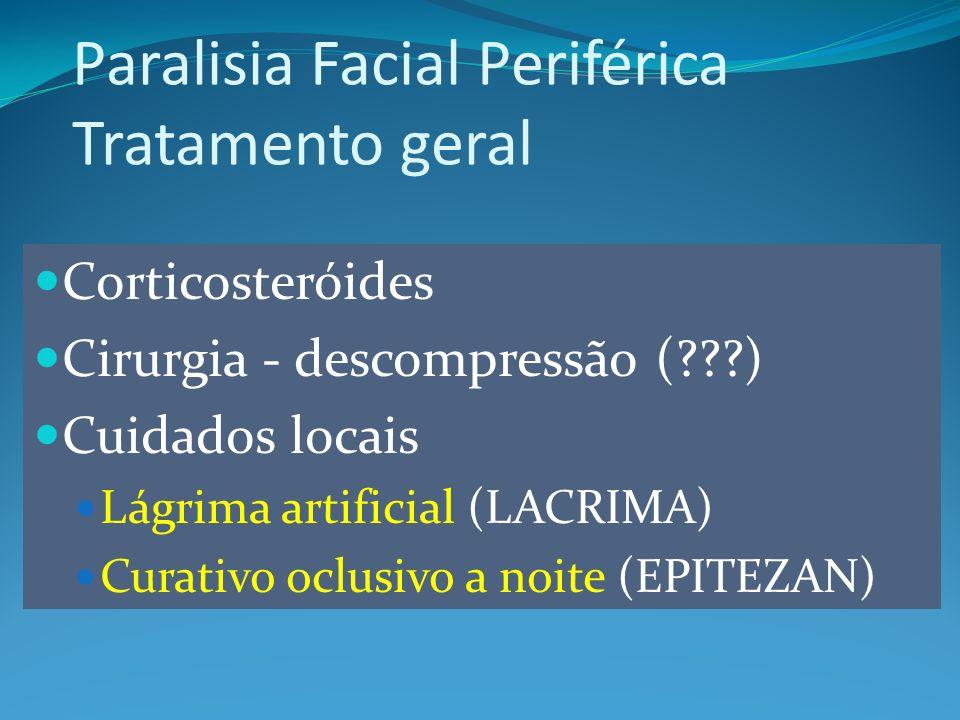 Corticosteróides Cirurgia - descompressão (???) Cuidados locais Lágrima artificial (LACRIMA) Curativo oclusivo a noite (EPITEZAN) Paralisia Facial Periférica Tratamento geral
