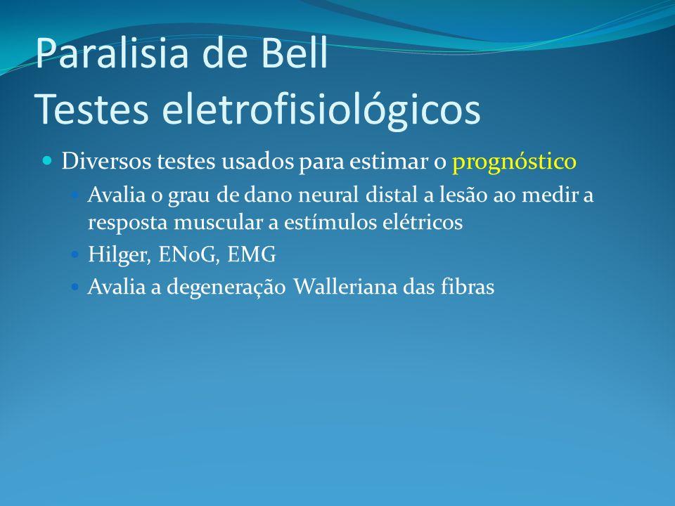Paralisia de Bell Testes eletrofisiológicos Diversos testes usados para estimar o prognóstico Avalia o grau de dano neural distal a lesão ao medir a resposta muscular a estímulos elétricos Hilger, ENoG, EMG Avalia a degeneração Walleriana das fibras