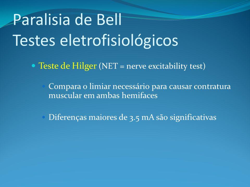 Paralisia de Bell Testes eletrofisiológicos Teste de Hilger (NET = nerve excitability test) Compara o limiar necessário para causar contratura muscular em ambas hemifaces Diferenças maiores de 3.5 mA são significativas