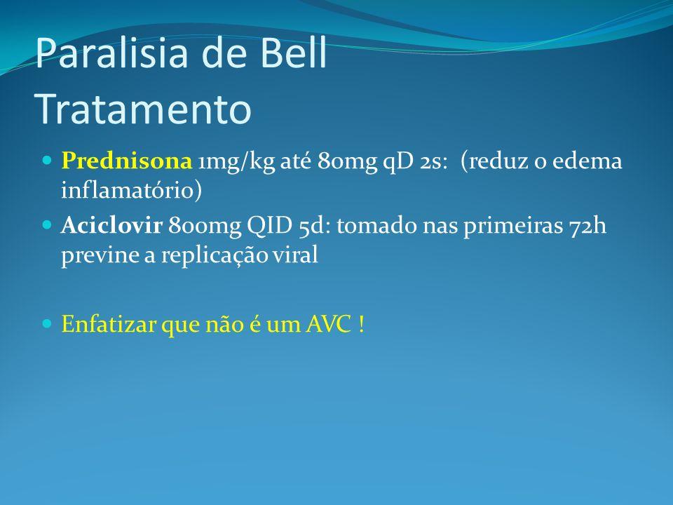Paralisia de Bell Tratamento Prednisona 1mg/kg até 80mg qD 2s: (reduz o edema inflamatório) Aciclovir 800mg QID 5d: tomado nas primeiras 72h previne a replicação viral Enfatizar que não é um AVC !