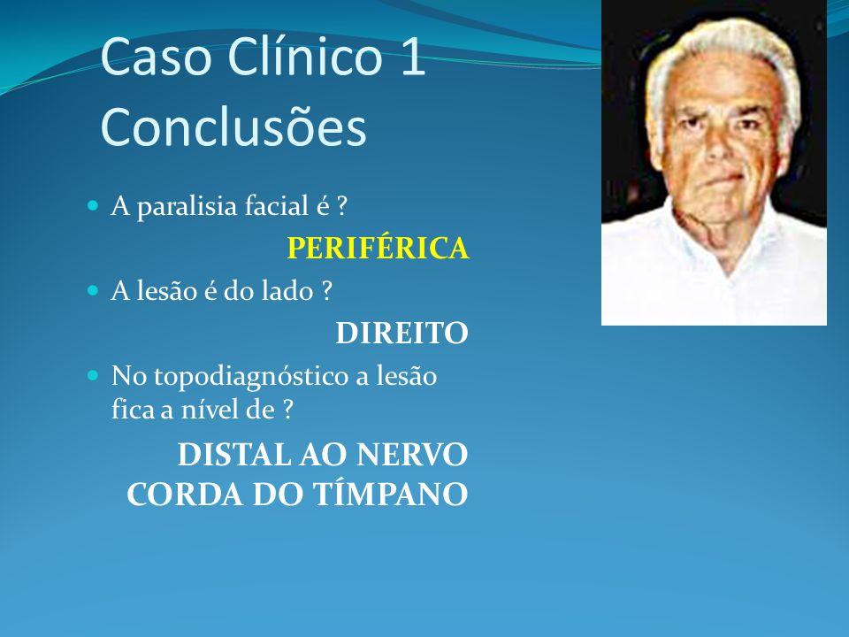 Caso Clínico 1 Conclusões A paralisia facial é ? PERIFÉRICA A lesão é do lado ? DIREITO No topodiagnóstico a lesão fica a nível de ? DISTAL AO NERVO C