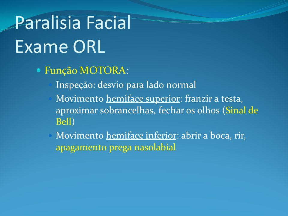 Paralisia Facial Exame ORL Função MOTORA: Inspeção: desvio para lado normal Movimento hemiface superior: franzir a testa, aproximar sobrancelhas, fech