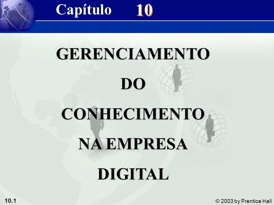 10.1 © 2003 by Prentice Hall 10 Capítulo GERENCIAMENTODOCONHECIMENTO NA EMPRESA DIGITAL