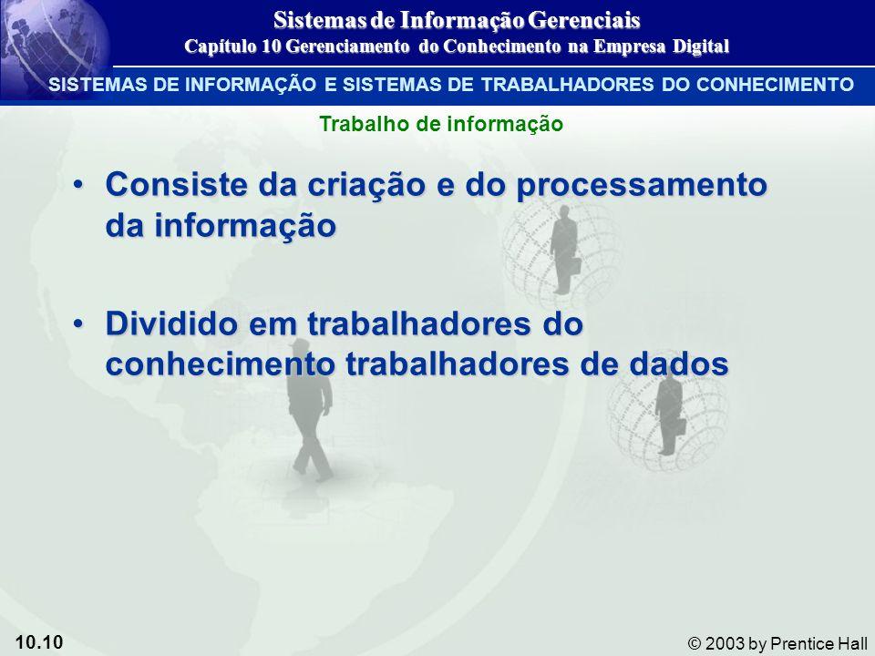 10.10 © 2003 by Prentice Hall Consiste da criação e do processamento da informaçãoConsiste da criação e do processamento da informação Dividido em tra