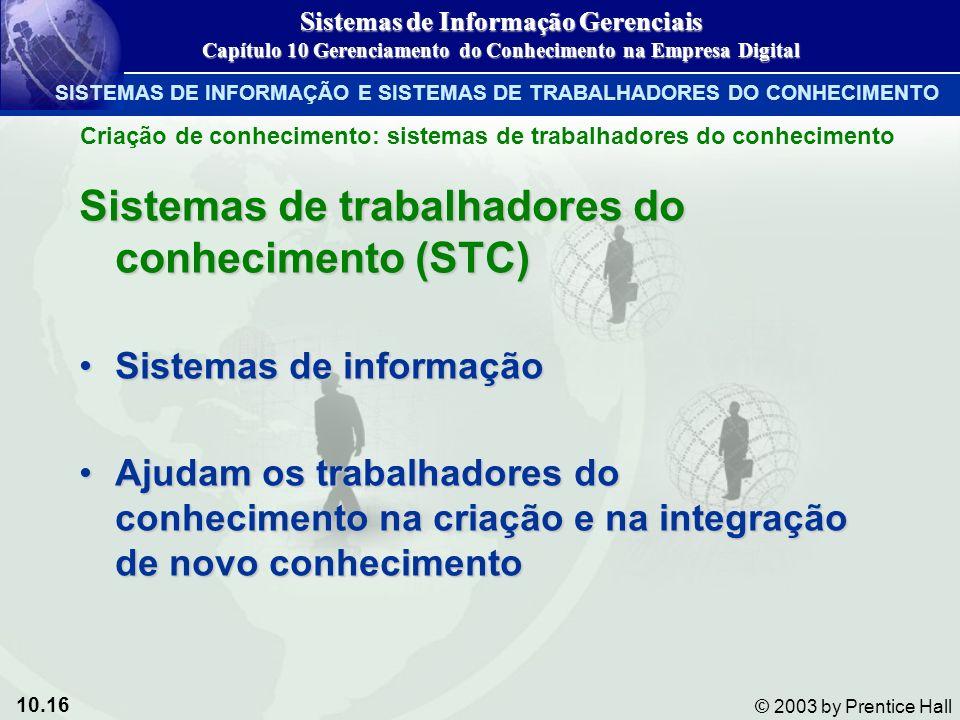 10.16 © 2003 by Prentice Hall Sistemas de trabalhadores do conhecimento (STC) Sistemas de informaçãoSistemas de informação Ajudam os trabalhadores do