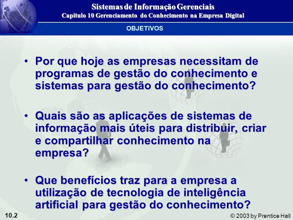 10.2 © 2003 by Prentice Hall Por que hoje as empresas necessitam de programas de gestão do conhecimento e sistemas para gestão do conhecimento?Por que