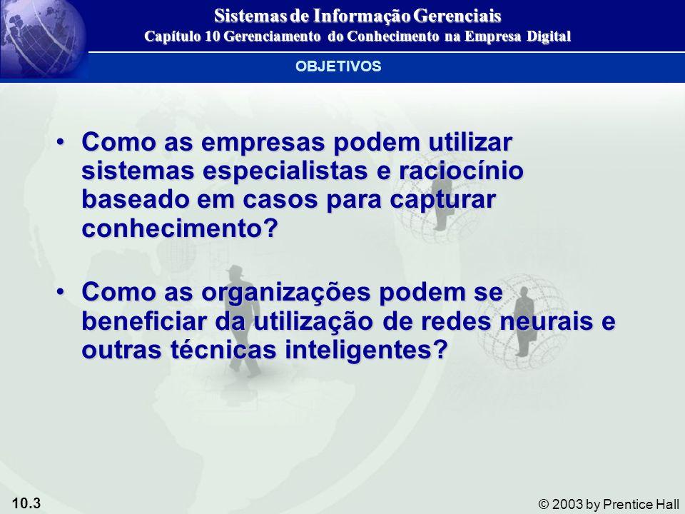 10.3 © 2003 by Prentice Hall Como as empresas podem utilizar sistemas especialistas e raciocínio baseado em casos para capturar conhecimento?Como as e