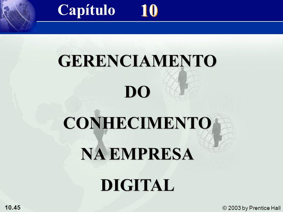 10.45 © 2003 by Prentice Hall 10 GERENCIAMENTODOCONHECIMENTO NA EMPRESA DIGITAL Capítulo