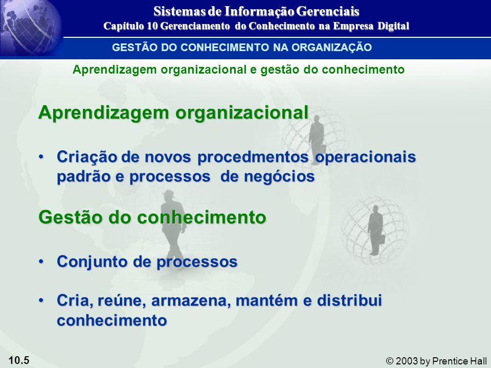 10.5 © 2003 by Prentice Hall Aprendizagem organizacional Criação de novos procedmentos operacionais padrão e processos de negóciosCriação de novos pro