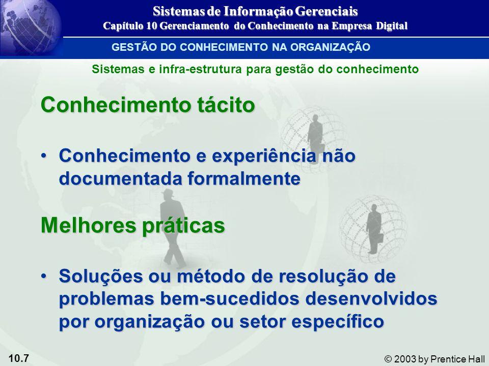 10.7 © 2003 by Prentice Hall Conhecimento tácito Conhecimento e experiência não documentada formalmenteConhecimento e experiência não documentada form