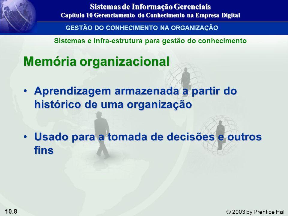 10.8 © 2003 by Prentice Hall Memória organizacional Aprendizagem armazenada a partir do histórico de uma organizaçãoAprendizagem armazenada a partir d