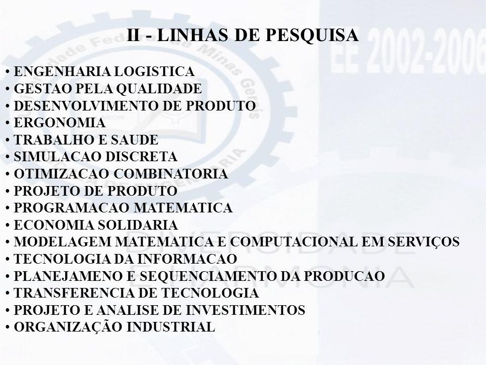 II - LINHAS DE PESQUISA ENGENHARIA LOGISTICA GESTAO PELA QUALIDADE DESENVOLVIMENTO DE PRODUTO ERGONOMIA TRABALHO E SAUDE SIMULACAO DISCRETA OTIMIZACAO