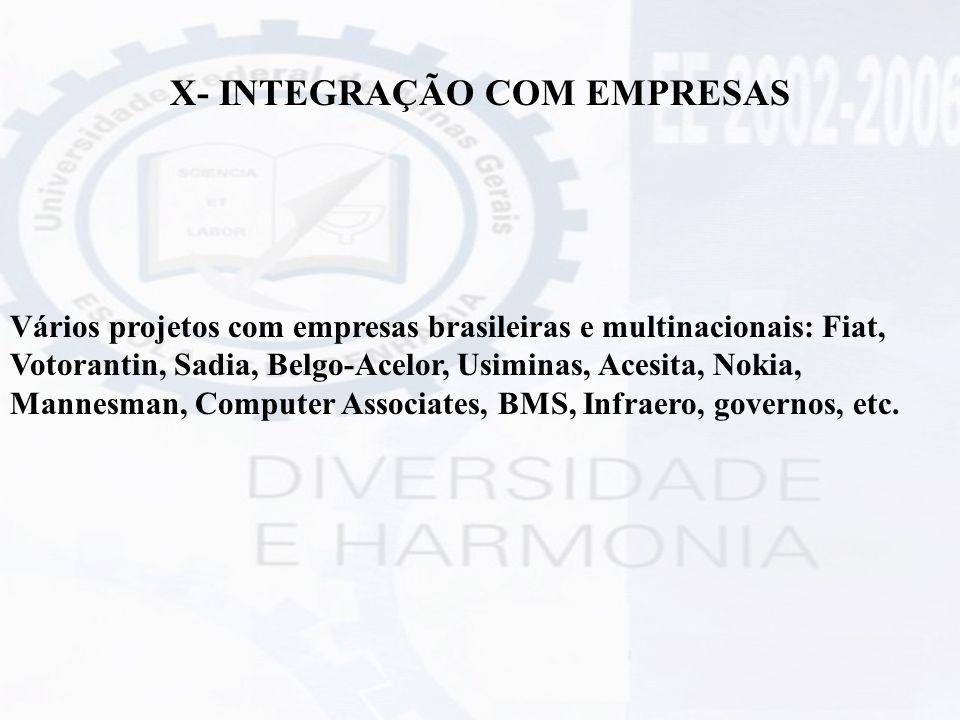 X- INTEGRAÇÃO COM EMPRESAS Vários projetos com empresas brasileiras e multinacionais: Fiat, Votorantin, Sadia, Belgo-Acelor, Usiminas, Acesita, Nokia,